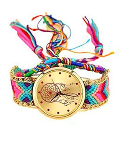 Qisc Women Dreamcatcher Wrist Watch With Adjustable Boho colorful Handmade Rope Bracelet For Girls (A)