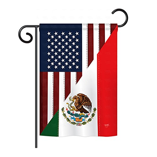 "Breeze Decor GS108205-BO US Mexico Friendship Flags of The World Impressions Decorative Vertical 13"" x 18.5"" Double Sided Garden Flag Set w/Banner Pole Included Printed in USA"