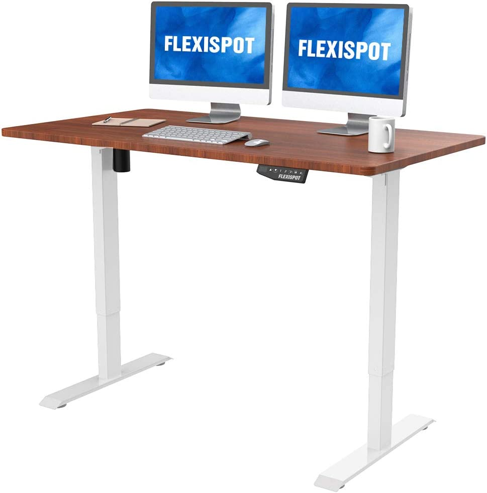FlexiSpot Electric Height Adjustable Desk 55 x 28 Inches Home Office Table Standing Desk (White Frame +55 inch Mahogany Top)