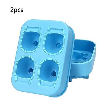 Molde de silicona 3D para hacer cubitos de hielo MX Kingdom con forma de calavera de azúcar y chocolate, 2 unidades azul: Amazon.es: Hogar