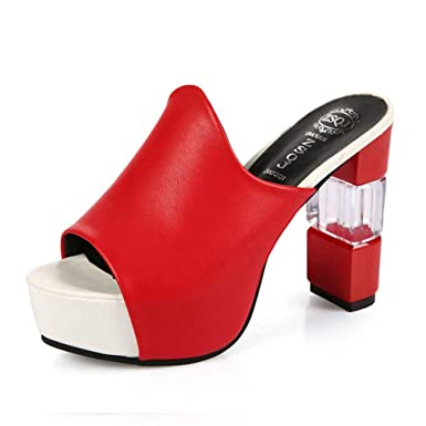 7b4c53d86 Image Unavailable. Image not available for. Color: Women Pumps Platform  High Heels Sexy Summer Peep Toe Shoes Red ...