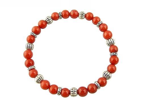 Edelstein Sternzeichen Armband – Fische – Koralle – mit silberfarbenen Tibet Perlen, Heilsteinarmband, Stretcharmband