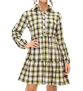 ROYLAMP Women's Plaid Long Sleeve Dress Ruffle Hem Button up Pleated Shift Tunic Dress with Pockets