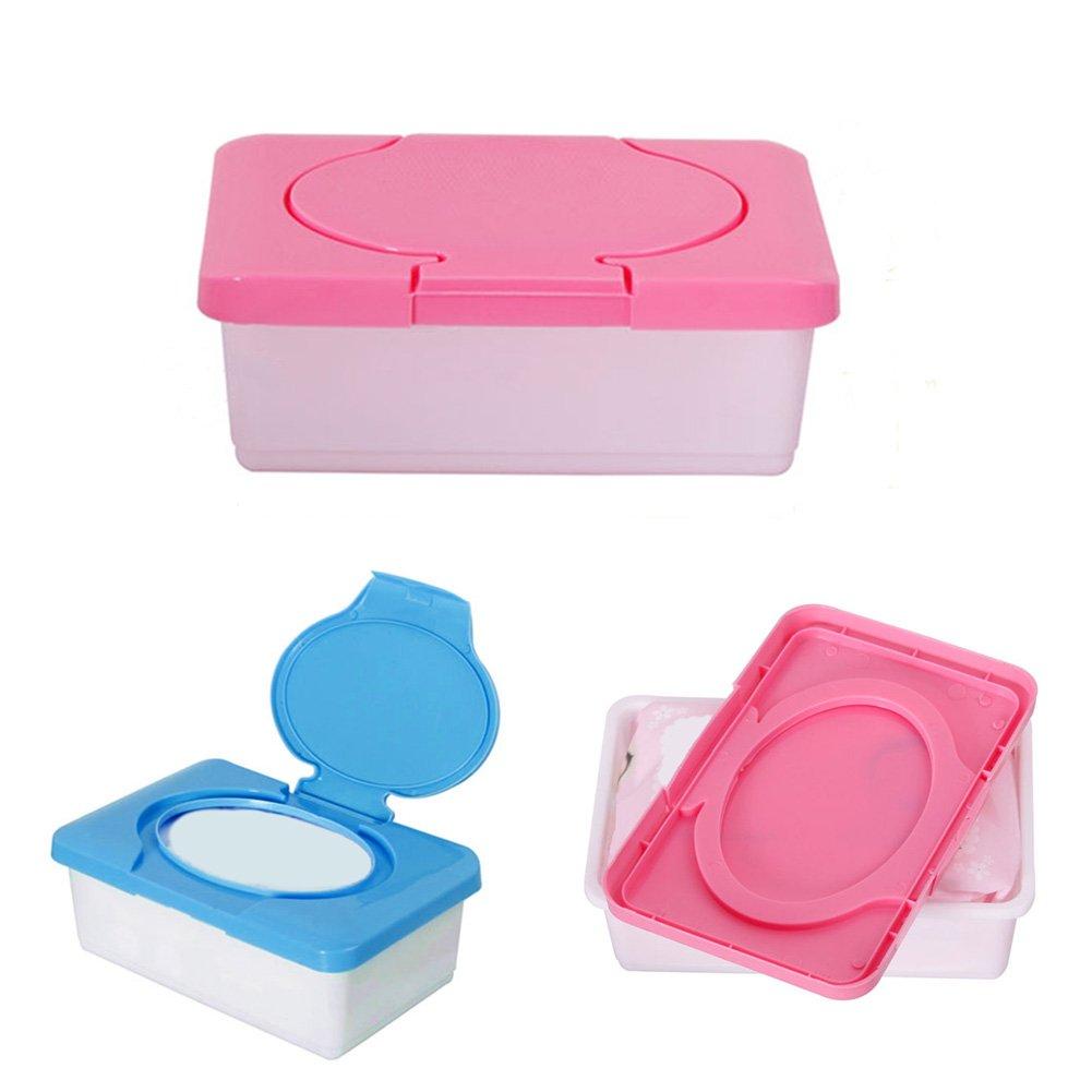 Caja de pañales para bebé, caja de pañuelos de plástico para viajes, dispensador de toallitas húmedas, bolsa de pañuelos de plástico (azul) rosa rosa: ...