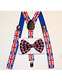 Unisex Awesome British Flag Union Jack Bowtie and Suspenders Set