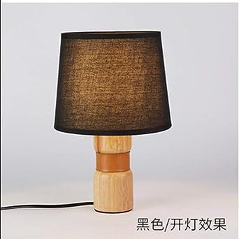 lámpara de mesa de madera E27 pequeña con base de madera pantalla ...