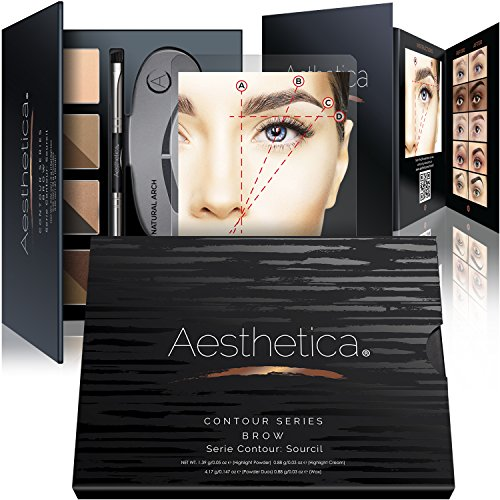 Aesthetica Cosmetics Brow Contour Kit - 15-Piece Contouring Eyebrow Makeup Palette - (Brow Kit)