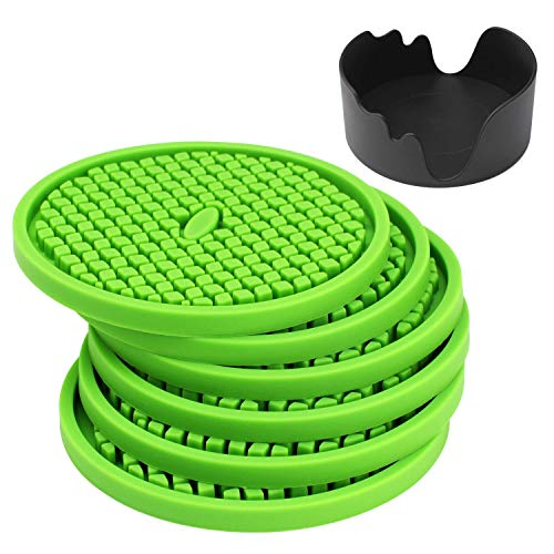 Silicone Drink Bar Coasters Set of 6 in Holder, IPHOX 3.94 Inches Flexible Heat Resistant Coaster for Drinks with Deep Grooved and Non-Slip Bottom, Protect Furniture from Dirty and Scratched (Green)