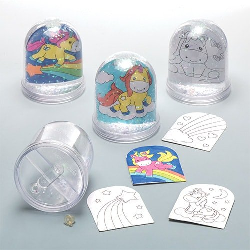 (Baker Ross Unicorn Colour-in Snow Globes (Box of 4) for Kids to)