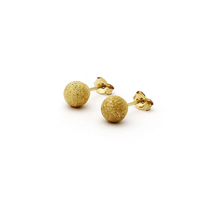 Amazon 14k Yellow Gold Diamond Cut Ball Stud Earrings 10mm
