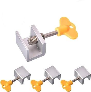 Suzannes - Bloqueo de puerta corredera de seguridad de aleación de aluminio con llaves, 4 unidades: Amazon.es: Bricolaje y herramientas