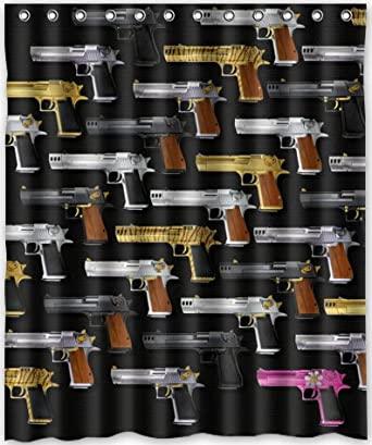 60quotx72quot Inches Pistol Gun Shower Curtain New Waterproof Polyester Fabric
