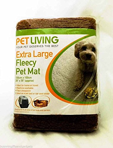 Pet Living Faux Sheep Skin Brown Fleecy Blanket Mat Extra Large 100 x 100cm Dogs Cats Mega_Jumble