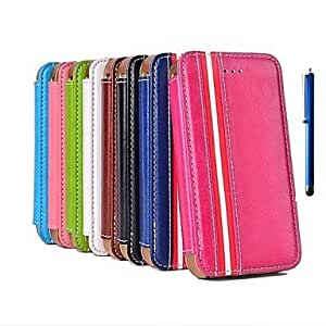 PEACH- The European Style Leather Case with Stand Hold and Pen for iPhone 4/4S (Assorted Colors) , Dark Blue