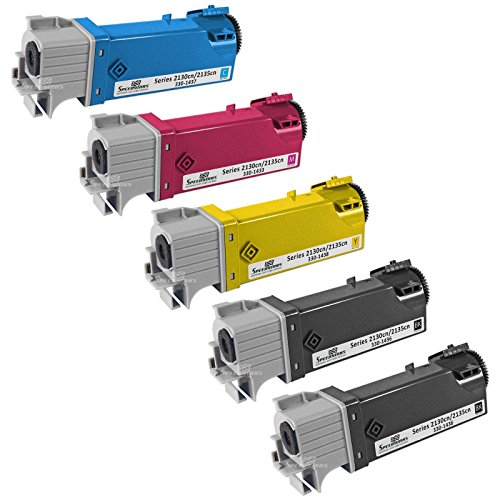Speedy Inks - Compatible Dell 2130 Set of 5 HY Laser Toners T106C Black T107C Cyan, T108C Yellow T109C Magenta for use in Dell Color Laser 2130cn, Dell Color Laser 2135cn - Dell 2135cn Color Printer