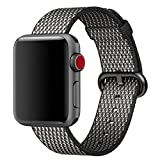 Hailan Band for Apple Watch Series 1 / 2 / 3,Newest Design Fine Woven Nylon Wrist Strap Replacement with Classic Buckle for iwatch,42mm,Black Check