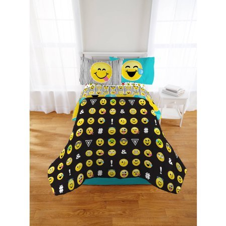Emoji Nation Forever Happy Bed-In-A-Bag Bedding Set, Reversible Comforter, Made of 100-Percent Polyester (Twin)