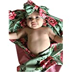 Mommy-Robe-with-Matching-Baby-Swaddle-Blanket-and-Bow-Green-Floral-Small-Medium