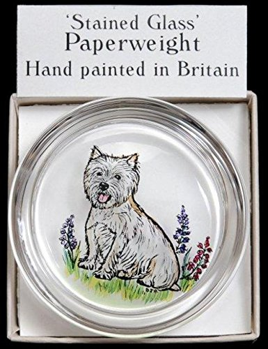 (Decorative Hand Painted Stained Glass Paperweight in a West Highland Terrier Design. )