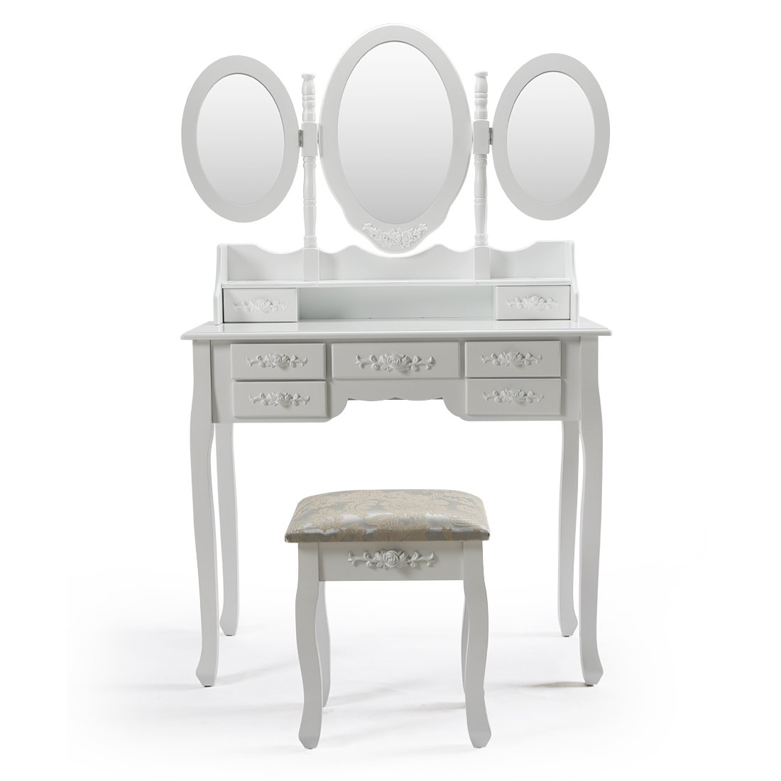 AHHC Coiffeuse Table Blanche de Maquillage avec Miroir Tiroir et Tabouret -3 miroirs-7 tiroirs