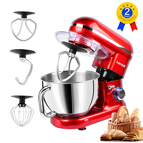Hornbill Tilt-head Stand Mixer 600W 6-Speed 5-Quart Stainless Steel Bowl Kitchen Electric Mixer With Dough Hook, Whisk, Beater