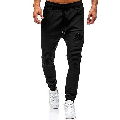 20372a0c2d9 Rosennie Fashion Men s Cotton Autumn Winter Casual Loose Gyms Lightweight  Denim Zipper Waist Pockets Breathable Slim