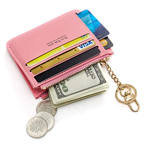 Cyanb Slim Leather Credit Card Case Holder Front Pocket Wallet Change Purse for Women Girls with keychain Colour Pink ()