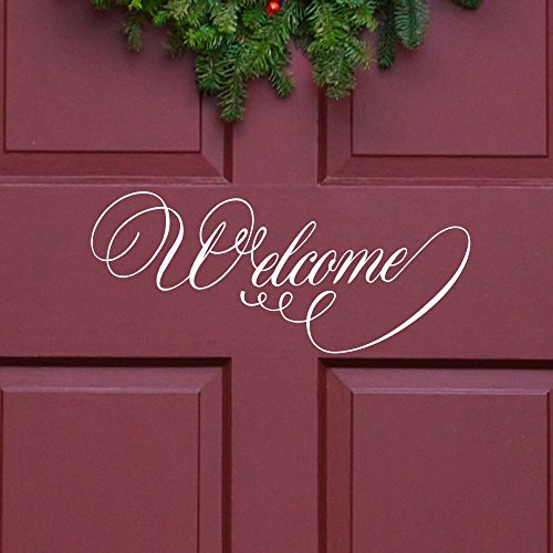 MoharWall Welcome Sign Wall Decal Front Door Decor Lettering Vinyl Art Quote Window Glass Sticker Office Bedroom Store by MoharWall