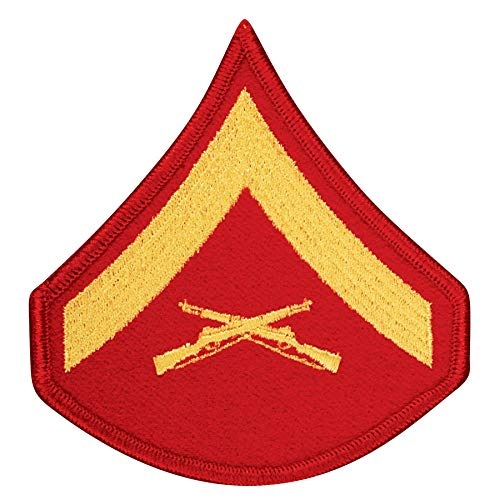 Medals of America United States Marine Corps (USMC) Chevron Gold Embroidered on red LCPL Lance Corporal E4 Male Red ()