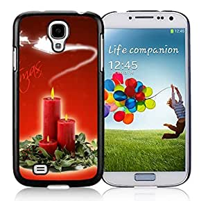 Samsung S4 Case,Christmas Candles In Leaves Black Silicone Phone Case Fit Samsung Galaxy S4 Case,Galaxy S4 I