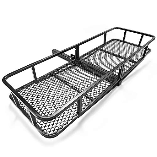 MICTUNING Foldable Cargo Carrier - Hitch Mount Luggage Basket for 2