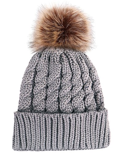 Pom Pom Knit Accent - Winter Warm Thick Hand Knitted Beanie Hat with Faux Fur Pom Pom, Grey Natural