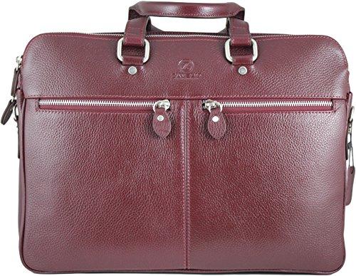 Zavelio Men's David Genuine Leather Business Briefcase Messenger Shoulder Bag Burgundy by Zavelio