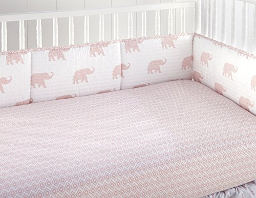 Levtex Home Baby Malawi Blush Elephants 4 Piece Crib Bumper Set [並行輸入品]   B07J64RCQ7