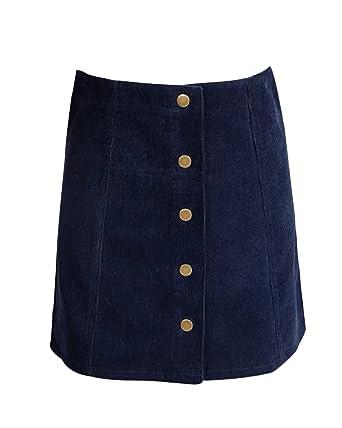 cdf55cc8f6 Gamery Women's High Waist Faux Suede Button Closure Plain A-line Mini Short  Skirt X