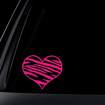 Zebra print heart hot pink car decal sticker
