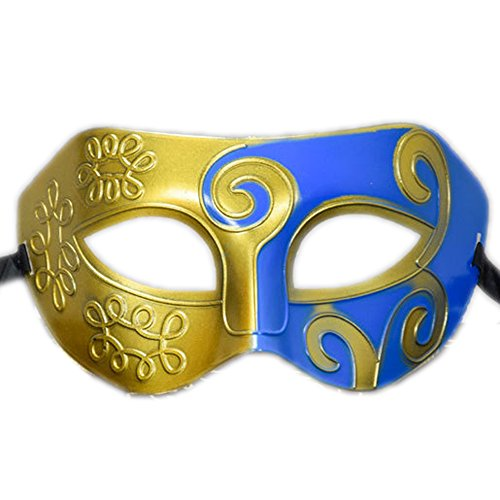 Rehoty Mens Masquerade Mask Vintage Half Face Party Mask Mardi Gras Christmas Halloween Mask (Gold+Blue -