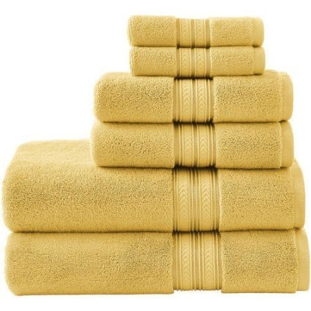 BHG 6-Piece Thick and Plush Solid Cotton Bath Towel Set (Yellow Sundial)