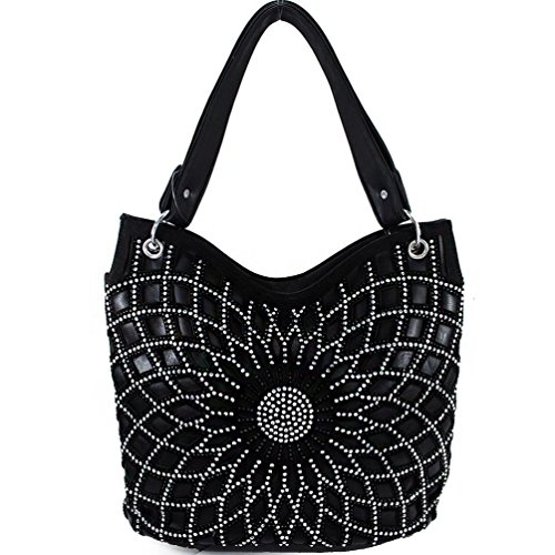 Texas Hobo Colors Handbag Rhinestone Bling Women's Concho Black 3 West in wXwZqS