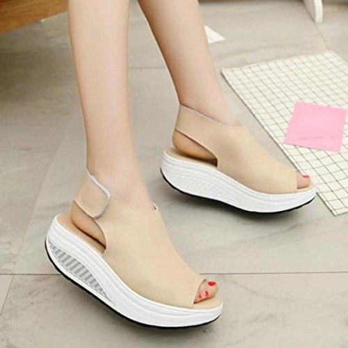 Mujer Sandalias Plataforma, Culater Zapatos Pumps Cuero artificial Chancletas Beige