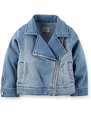 Baby Girls' Stretch Denim Moto Jacket