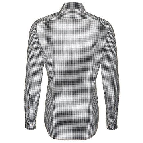 Seidensticker Herren Langarm Hemd Schwarze Rose Slim Fit blau / weiß kariert mit Patch 241406.15