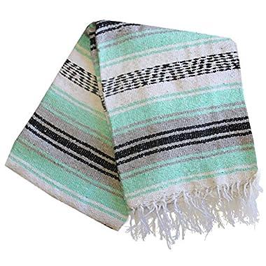 Del Mex (TM) Mint Seafoam and Grey Mexican Blanket Vintage Style (Sueño)