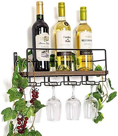ZYLZL Botellero, Bar, Restaurante, Estante para Copas de Vino, Madera Rústica para Colgar en la Pared para el Hogar con Soporte para Vasos de 4 Tallos   Decoración de Pared para el Hogar   Bandeja de