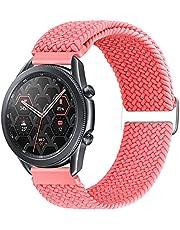 Runostrich 22 mm flätat elastisk solo loop klockarmband i nylon, kompatibelt med Samsung Galaxy Watch3 45 mm/Galaxy Watch 46 mm/Gear S3 Classic/Frontier, kvinnor, män justerbart, stretchigt armband