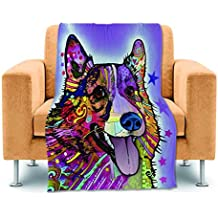 """CafeTime Lovely Pet Dog Corgi Home Fleece Throw Blankets Bed Sofa Couch Blankets Lightweight Polyester Kid Baby Blankets Custom Colorful Animal Soft Warm Plush Blankets For Travel Camping 50""""x60"""""""