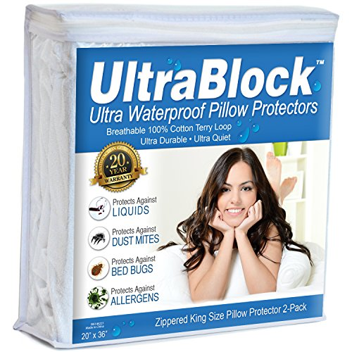 UltraBlock King Size Waterproof Pillow Protector - Hypoallergenic & Bed Bug Proof Zippered Terry Cotton Pillow Cover - 2 Pack by UltraBlock