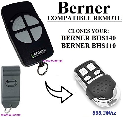 Berner BHS110, Berner BHS140 compatible mando a destancia, 868,3Mhz fixed code CLON, 4-canales reemplazo transmisor Al mejor precio!!! Berner replacement remote / clone