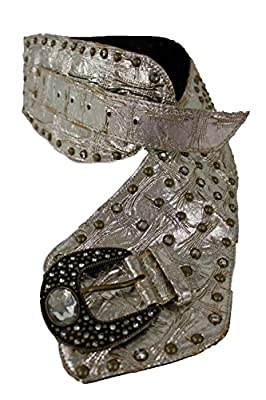 TFJ Women's Wide Western Fashion Belt Faux Leather Rodeo Buckle Large Metallic Silver