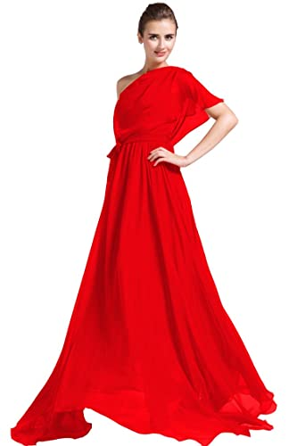 New Chiffon One Shoulder Belt Evening Prom Women Red Dress Ball